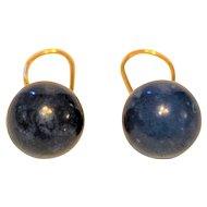 Art Deco Lapis Lazuli Earrings 14 kt  shepherd Hooks Solid Natural Lapis Balls