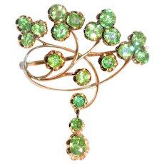 Russian Faberge Art Nouveau  Demantoid Garnet 14 kt Gold Brooch