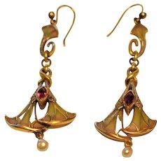Art Nouveau French Plique a Jour 14 kt Gold Ruby Drop Earrings  Mine Cut Diamonds Pearls Georges Fouquet? Masriera? C1890's
