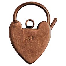 Antique 9ct Gold Heart Padlock Charm