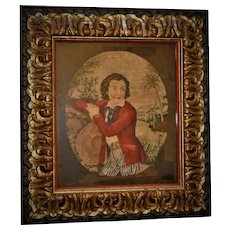 Antique Victorian Needlepoint Tapestry Portrait of a Boy  Local Estate Provenance Conservation Glass