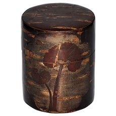 Japanese Cherry Bark Tea Caddie Carved Trees Signed