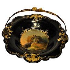 Antique Victorian Papier Mache Cake Basket Scenic Inlaid House Gilded