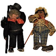 Vintage 1940's Steiff Miniature Hedgehog (2)  Chimney Sweep & Hiker  Mohair  Wool Fannel Clothes  All original