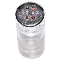 Hallmarked Sterling Silver Gemstone Garnet Amethyst Perfume Bottle  Birmingham C. 1911