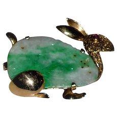 Antique Chinese Jade 14 kt Gold Rabbit  Brooch