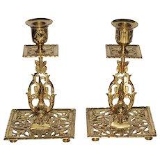 English Gargoyle Brass Candlesticks c 1890