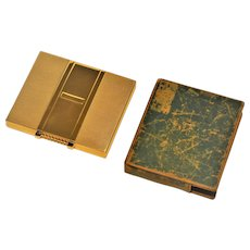 Antique  TIFFANY Solid 14 kt Gold Sapphire  Box  Trinket Cosmetic Cigarette Art Deco  Original Leather Cover  Jeweled