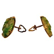 Antique Chinese carved Jade 14 kt Gold Earrings