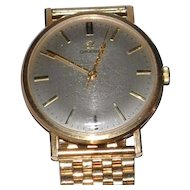 Vintage English Omega Mans 9 ct Gold Wristwatch with Solid Gold Band Classic