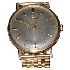 Vintage Omega Mens  Solid Gold Wristwatch with Solid English Hallmarked Gold Band Classic Design Wind Up