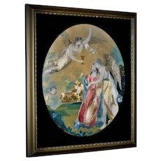 Georgian Silk Embroidery Jesus & Angels  Rare 1700's