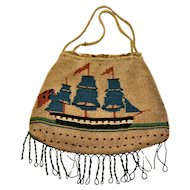 Georgian Sailors Work  Nautical Micro Beaded Purse 1700's Ships