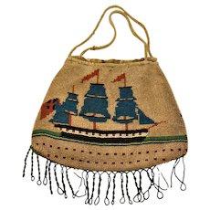 Georgian Sailors Work  Nautical Micro Beaded Purse 1700's Ships Brig Flags  Masts Sails smoke Rare