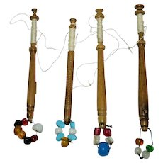 19th Century  Carved Wood Lace bobbins Italian Glass