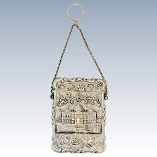 Antique American Sterling Silver Card Case/Purse  Capitol Building
