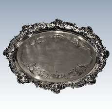 Antique German 800 Silver Tray FREYTAG  Hallmarked Ornate Heavy  397 grams