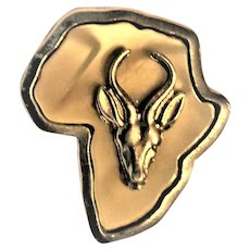 African Brooch Map of Africa Antelope Mother of Pearl Engraved Silver Metal. 1950's