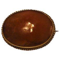 Victorian  Orange/red Agate Gemstone 9ct Gold Brooch English