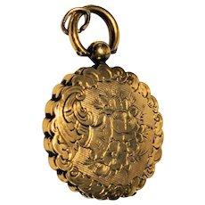 Victorian Engraved 14 kt Gold Locket Pendant