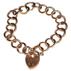 Antique Heart Padlock Rose Gold Bracelet English 9 ct Rose Gold London  Large Links