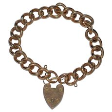 Antique Heart Padlock Rose Gold Bracelet English 9 ct Rose Gold London