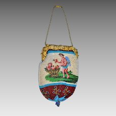 """Georgian Sable Beaded French Cherub Purse/Necklace """"I Look For The Most Faithful"""""""