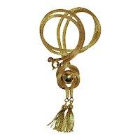 VINTAGE 14 KT GOLD Mesh Rope Necklace ETRUSCAN Revival  Tassels  22.1 Grams