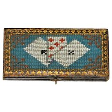Georgian Micro Beaded Coin Box Gamblers Box  Cards without Faces European