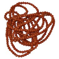 """Victorian Long Natural salmon Coral Necklace 69"""" Long / 65 Grams 19th century"""