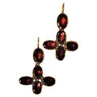 Georgian Flat Cut Almandine 14 kt Garnet Earrings   c 1790's