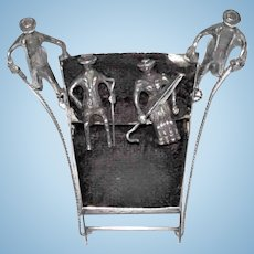 Antique  Miniature Dutch silver sledge Two Drivers & Two People