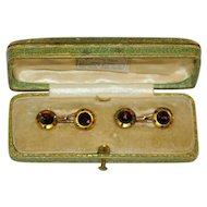Antique Austrian 14 kt Gold Garnet Cufflinks by  M. Kersch  Royal Warrant