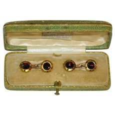 Antique Austrian 14 kt Gold Garnet Cufflinks by  M. Kersch  Royal Warrant