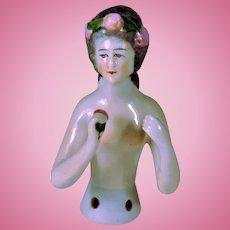 Antique German porcelain Pincushion Half Doll Roses Wreath