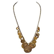"""Vintage Pididdly Links Clock Charm Necklace Kingston, New York Jeweled Mixed Metals   24 """""""