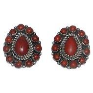 Vintage Red Coral Silver Navajo Earrings