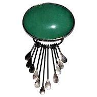 Vintage Mexican Jade Sterling Pendant/Brooch Large Jade Stone
