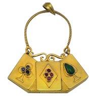 Vintage  Gamblers Gemstone 14 kt gold Purse Pendant