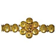 Antique Gold Diamonds Rubies Lion Bracelet Star Design Embossed