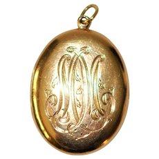 Antique 10 kt American Rose Gold Oval Locket /Pendant