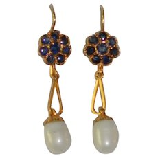 Antique 18 kt Gold Sapphire Cultured Pearl Earrings  Drop Style