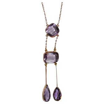 """Antique English 9 ct Gold Amethyst Negligee Necklace  18""""  c 1900"""