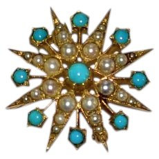 Antique 15 kt gold Turquoise Pearl Sunburst Pendant/Brooch