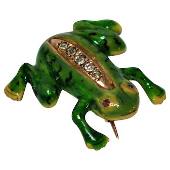 Antique English Gold Frog Pendant/Brooch Enamel Diamonds Rubies 14 kt  C clasp