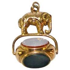Antique Pocket Watch Spinner Fob Figural Elephant 14 kt Gold Gemstones