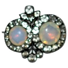 Georgian Giardinetti Black Dot Opaline Paste  Silver brooch