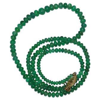 Vintage Emerald Necklace 14 kt Gold