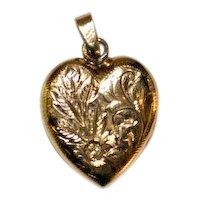 Heart Locket Pendant  10 kt Gold  Finely Engraved Design