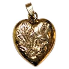 Heart Locket Pendant  10 kt Gold  Finely Engraved Design